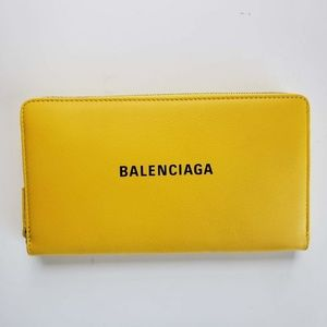 Balenciaga Zip Leather Wallet Purse - Yellow